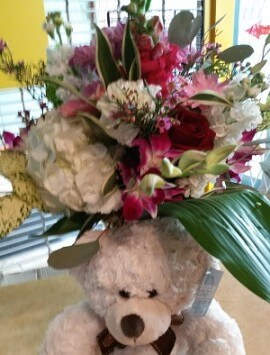 teddy and flowers