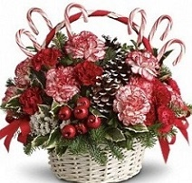 Candy Cane floral basket