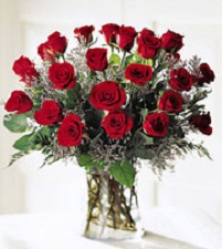 two dozen red roses arrangement